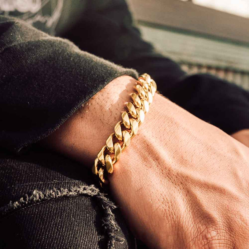 14mm Miami Cuban Link Bracelet Gold Gods Lifestyle