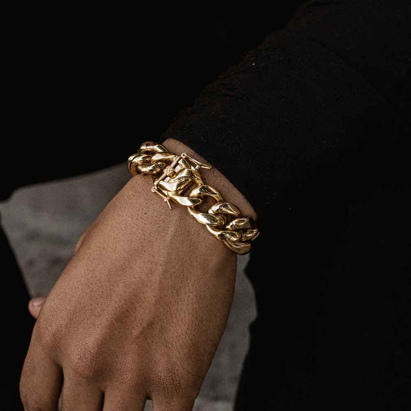 16mm Miami Cuban Link Bracelet Gold Gods Lifestyle