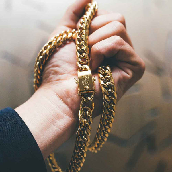 Curved Cuban Link Chain 12mm Gold Gods® lifestyle look
