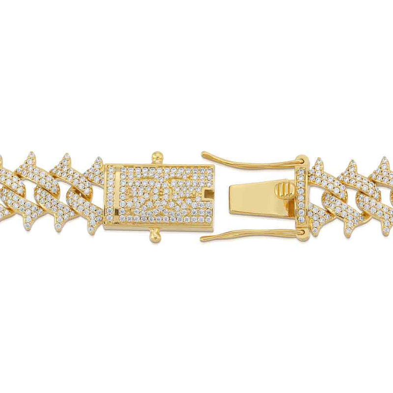 Diamond Cuban Spiked Chain Gold Golds®  close up view