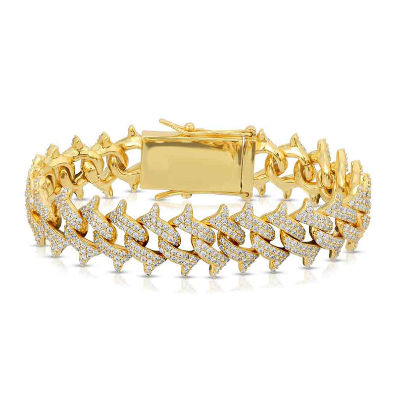 Diamond Spiked Cuban Bracelet Gold Gods® close up view gold