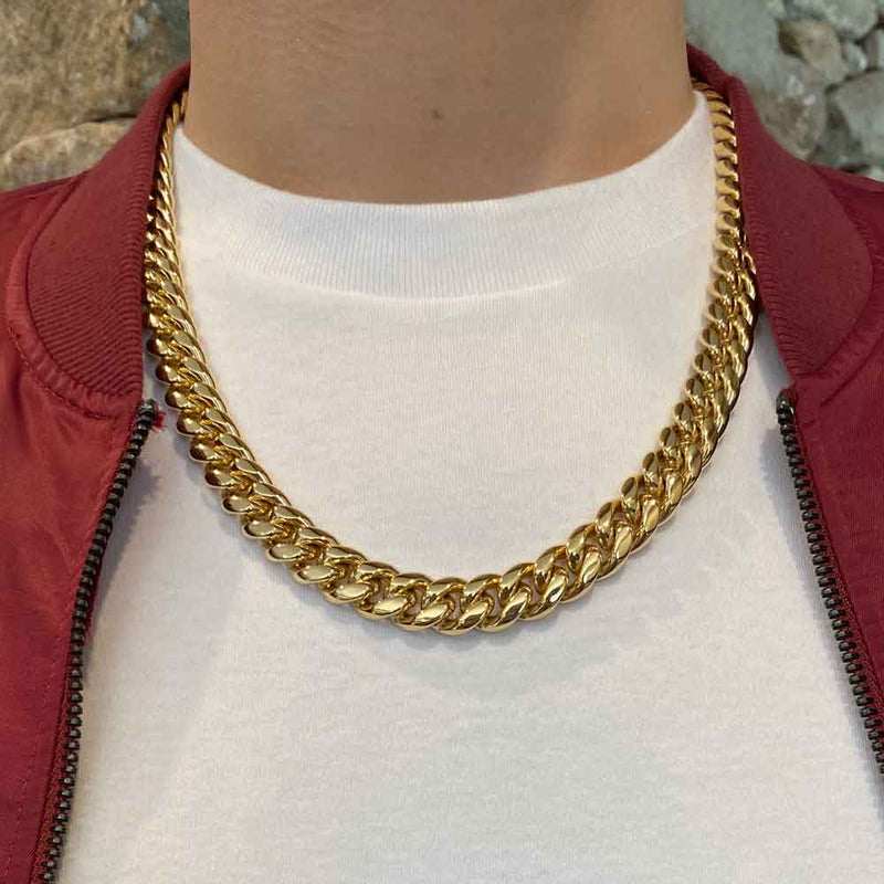 Miami Cuban Link Chain 10mm Gold Gods® lifestyle 2