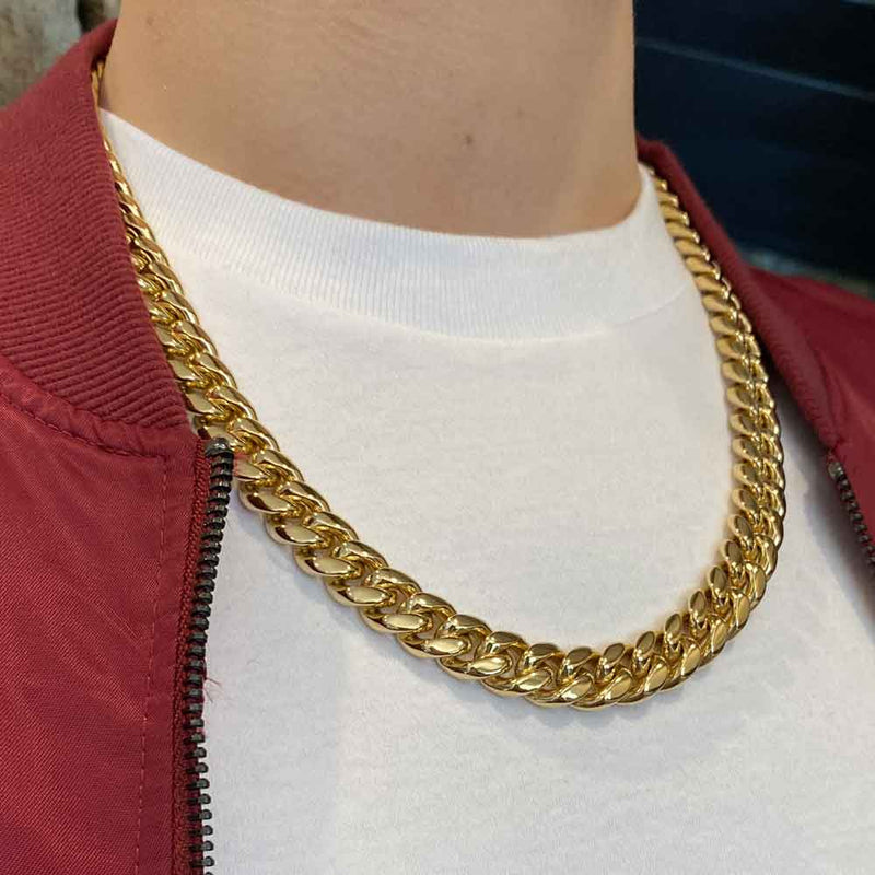 Miami Cuban Link Chain 10mm Gold Gods® lifestyle