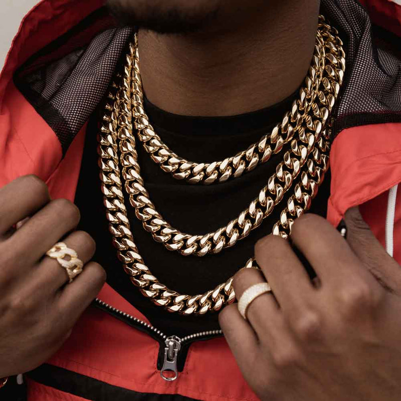 Miami Cuban Link Chain 14mm Gold Gods lifestyle look 2