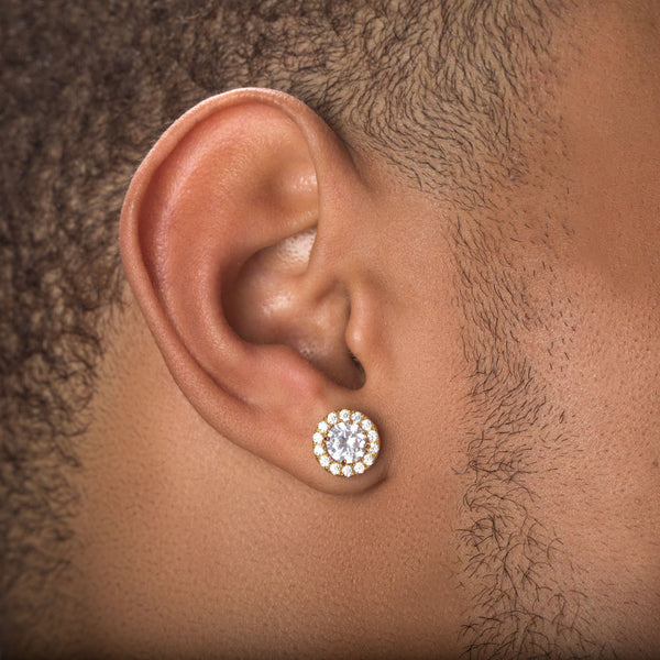 Diamond Halo Stud Ear Rings Gold Gods Lifestyle