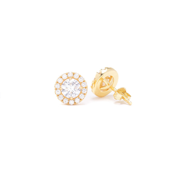 Diamond Halo Stud Ear Rings Gold Gods