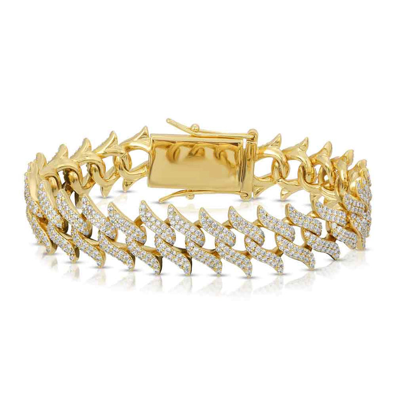 Diamond Spiked Laurel Cuban Bracelet Gold Gods®  close up view yellow gold