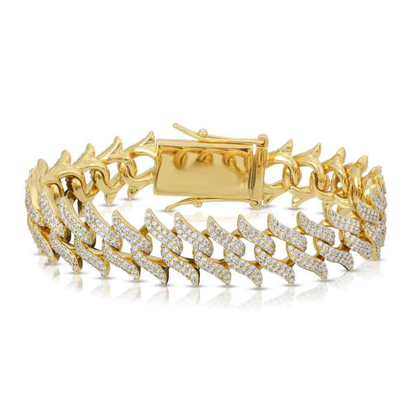 DIAMOND-SPIKED -LAUREL-CUBAN-LINK-bracelet-18k-gold-plated-lock-view-gold-gods-womens-jewelry