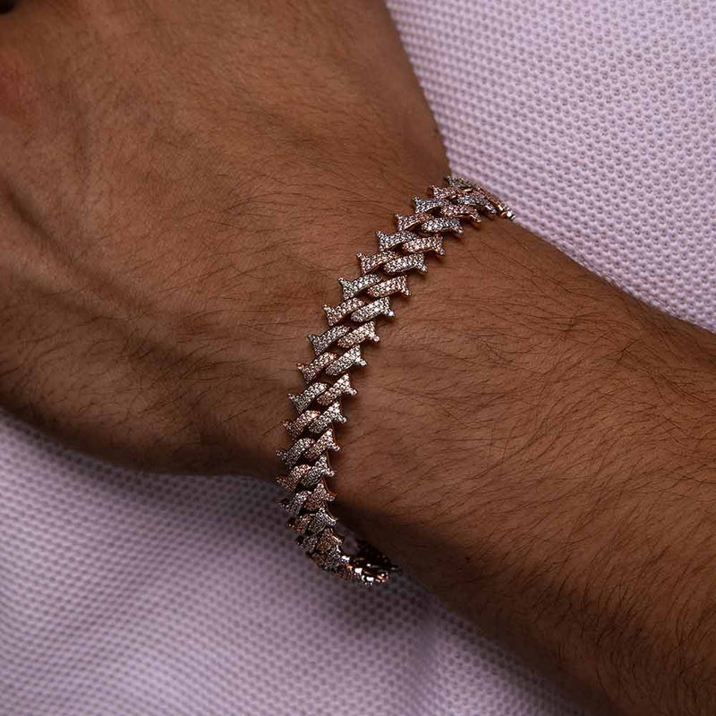 Diamond Spiked Cuban Bracelet Gold Gods® lifestyle look 2 tone