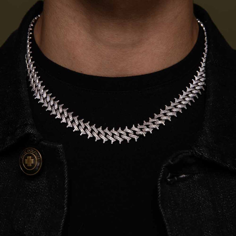 Diamond Cuban Spiked Chain Gold Golds®  lifestyle look front view 2