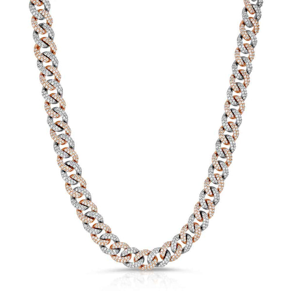2 Tone Rose & White Gold Diamond Cuban Link Choker (10mm) Gold Gods® Chain