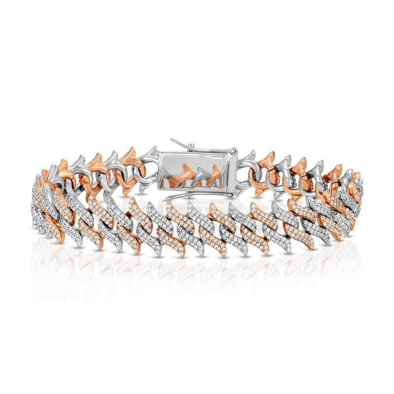 Diamond Spiked Laurel Cuban Bracelet Gold Gods®  close up view 2 tones