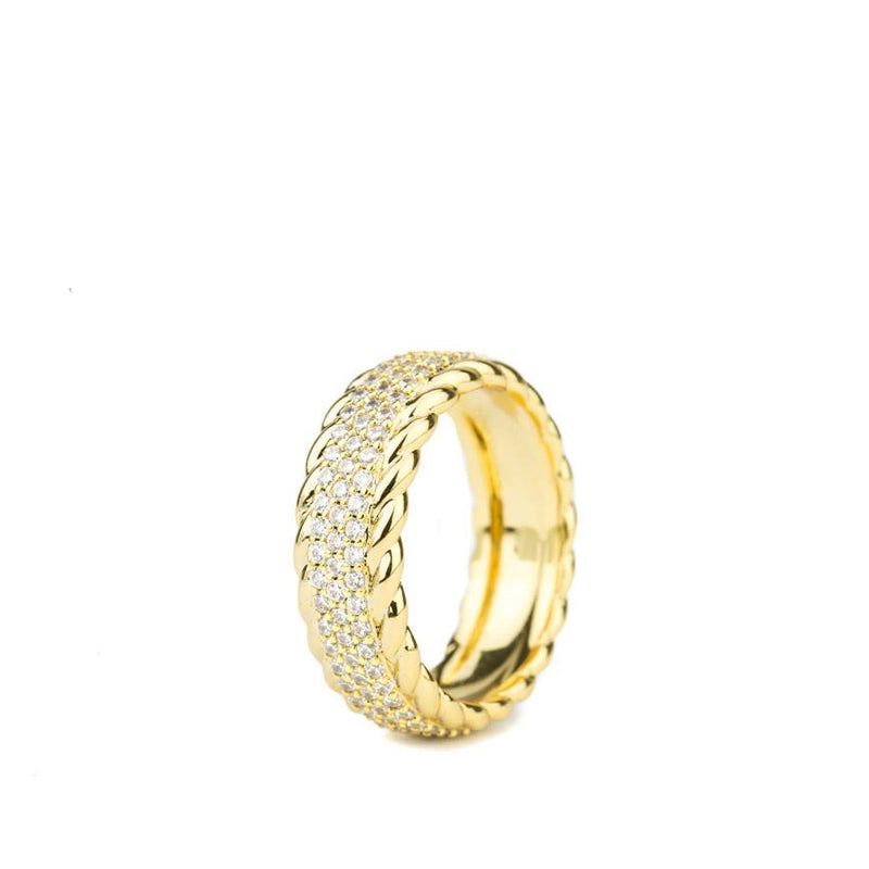 Diamond 3-Row Rope Ring Gold Gods® close up view