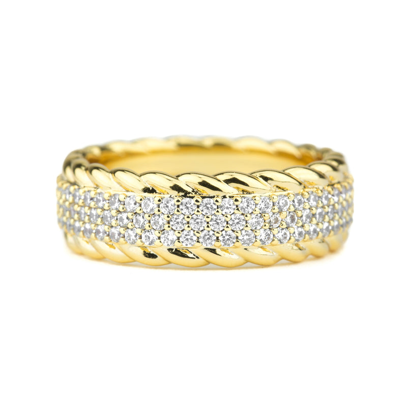 Diamond 3-Row Rope Ring Gold Gods® close up view 2