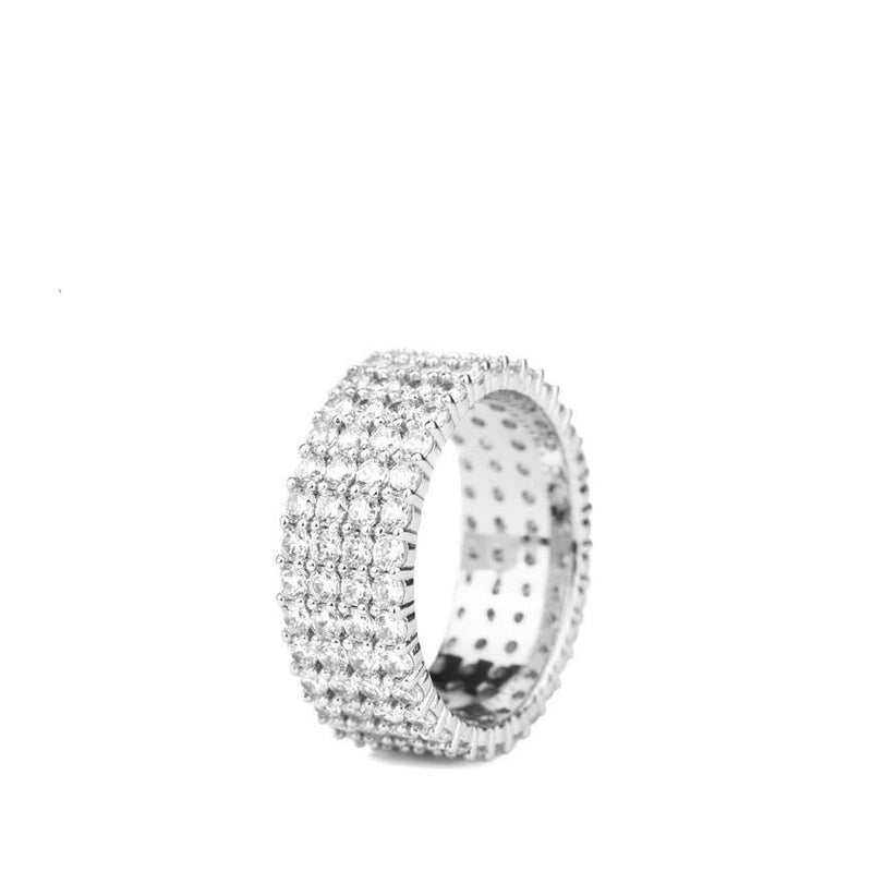 Diamond 4-Row Stacked Eternity Ring in White Gold Gold Gods®  Front