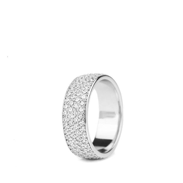 4 Row Micro Eternity Ring White Gold Gods
