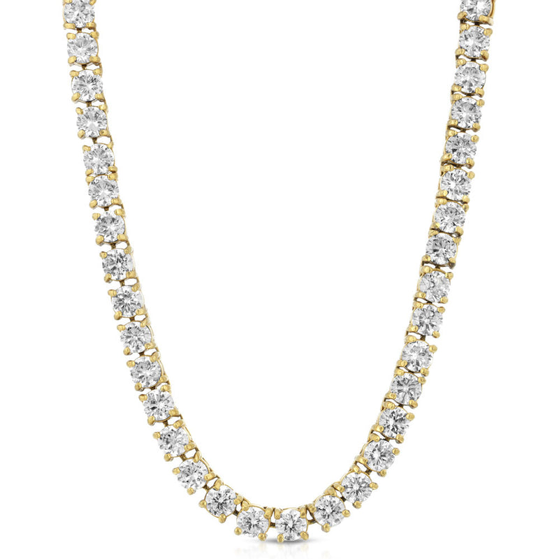 Diamond Tennis Gold Chain (4mm) Gold Gods® lifestyle look 1