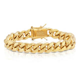 Solid Gold Miami Cuban Bracelet close view