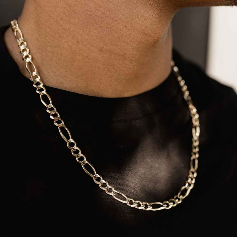 Men's Gold Figaro Link Chain (6mm) Gold Gods® Lifestyle 2