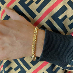 Solid Gold Miami Cuban Link Bracelet Hollow Gold Gods® lifestyle look