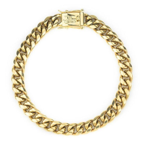 Miami Cuban Link Bracelet (8mm) Gold Gods® top view
