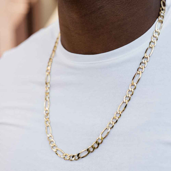Men's Solid Gold Figaro Link Chain Gold Gods® Lifestyle View