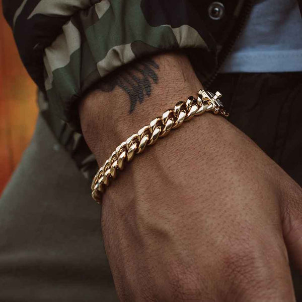 Miami Cuban Link Bracelet (8mm) Gold Gods® lifestyle look