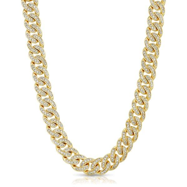 Diamond Cuban Link Micro Choker Chain 8mm Gold Golds® front view