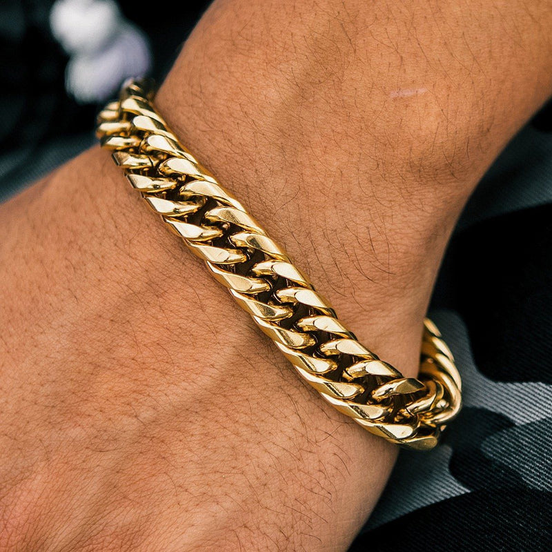 Cuban Link Bracelet Curved 12mm Gold Gods®