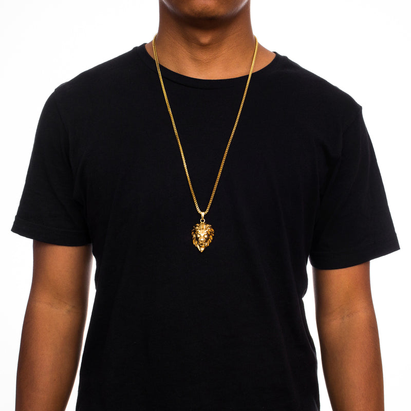 Gold Lion Head Necklace Pendant & Franco Gold Chain Gold Gods® on person