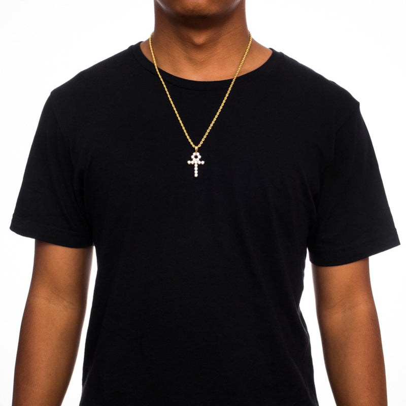 Micro Diamond Ankh Gold Necklace Pendant & Rope Gold Chain  Gold Gods® on person
