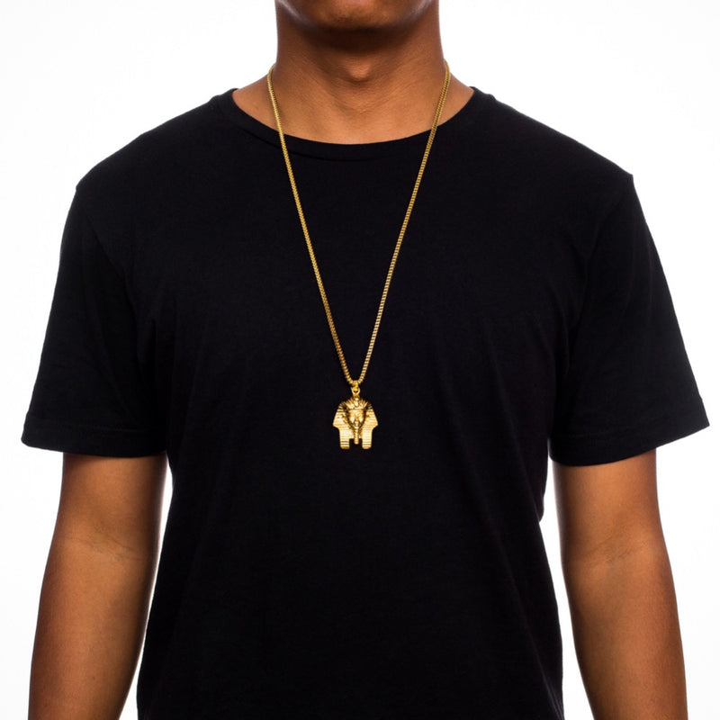 Pharaoh Head Gold Necklace Pendant & Franco Gold Chain Gold Gods® on person