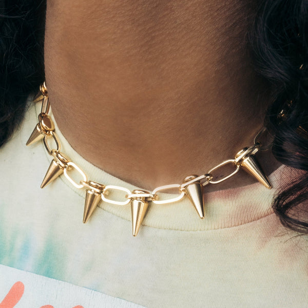 Gold Spiked Link Choker Chain Gold Gods 1