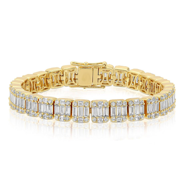 Diamond Baguette Tennis Bracelet Gold Gods® close up view Yellow Gold