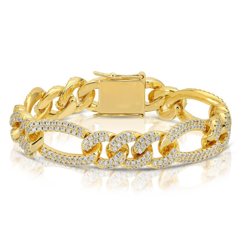 Diamond Figaro Link Bracelet Gold Gods® close up view in gold