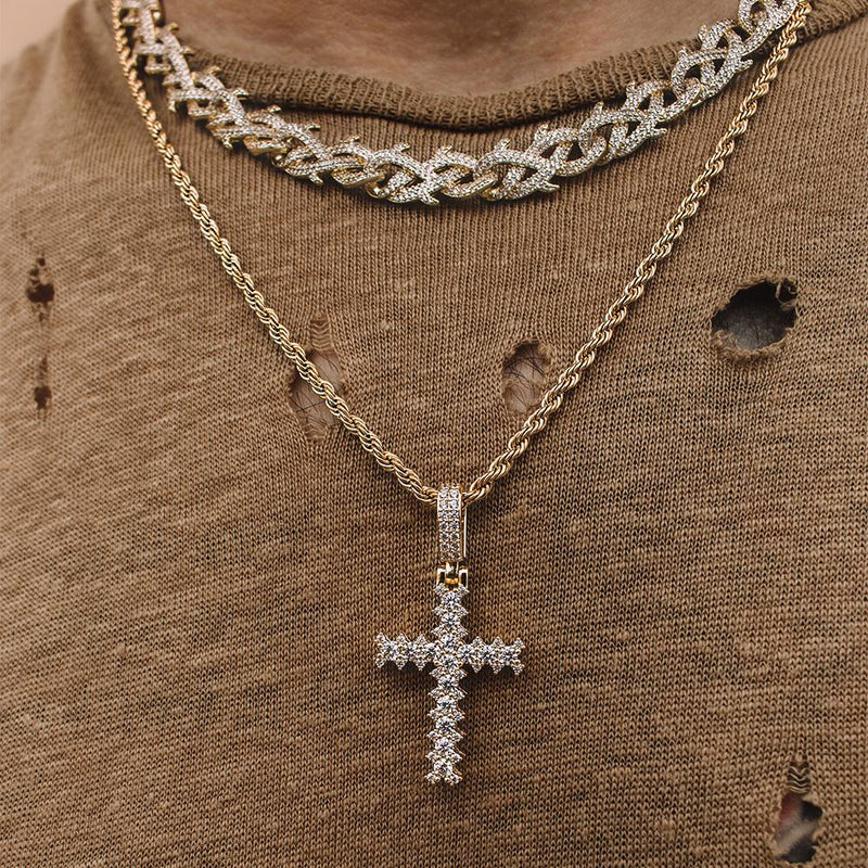 Flooded Diamond Cross Mens Gold Rope Chain Necklace Gold Gods®  lifestyle look