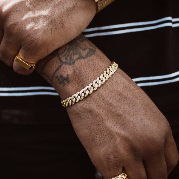 Micro Diamond Cuban Link Bracelet 8mm Gold Gods® lifestyle look