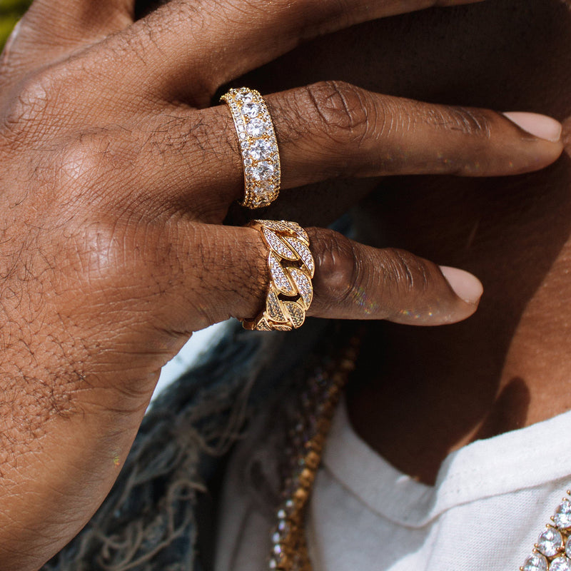 Diamond Cuban Link Ring Gold Gods® lifestyle view