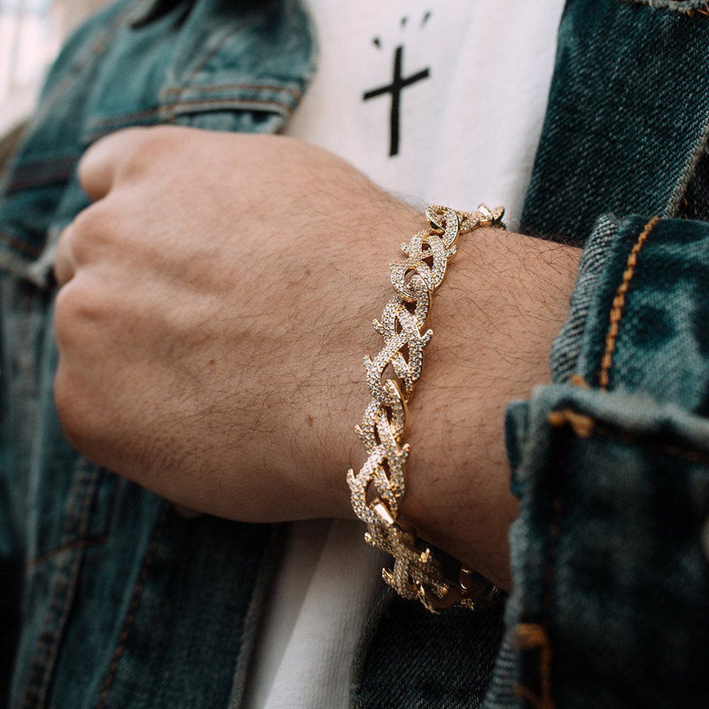 Diamond Crown of Thorns Bracelet Gold Gods® lifestyle look