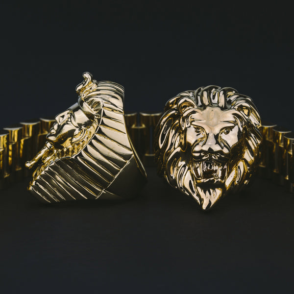 Lion Head Ring Gold Gods® close up view