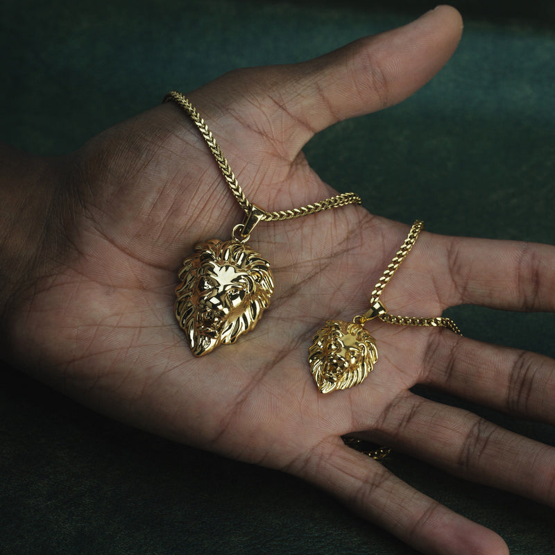 Gold Lion Head Necklace Pendant & Franco Gold Chain Gold Gods® closed up view