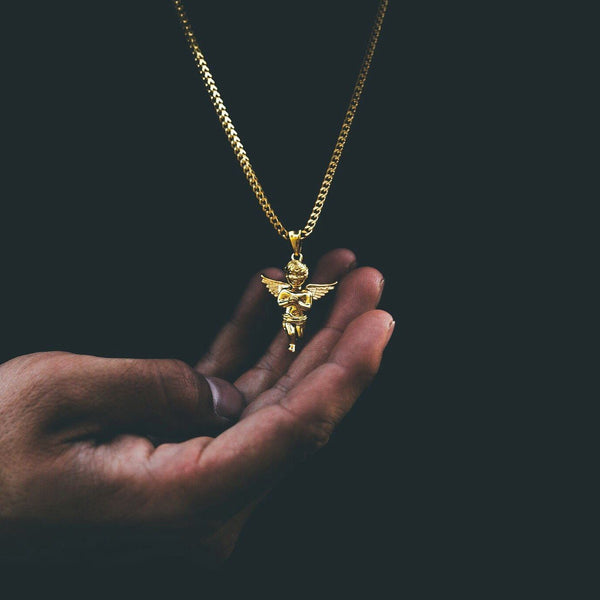 Micro Angel Piece Gold Necklace Pendant & Franco Gold Chain Gold Gods® lifestyle look