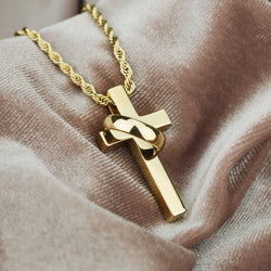 Circulum Gold Cross Necklace Pendant & Rope Gold Chain Gold  Gods® side view