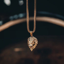 Micro Lion Head Gold Necklace Pendant & Franco Box Chain Gold Gods® front view