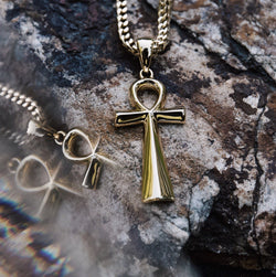 Micro Ankh Piece Gold Necklace Pendant & Franco Box Gold Chain Gold Gods®  front view