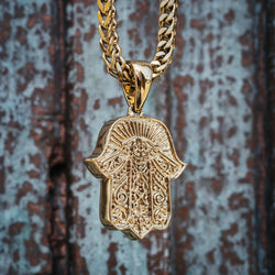 Hamsa Hand Gold Pendant Necklace & Franco Gold Chain Gold Gods® close up front view