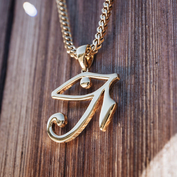 Eye of Horus Gold Necklace Pendant & Franco Box Chain Gold Gods front view