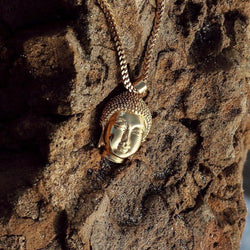Micro Buddha Head Gold Necklace Pendant & Franco Box Chain Gold Gods® front view