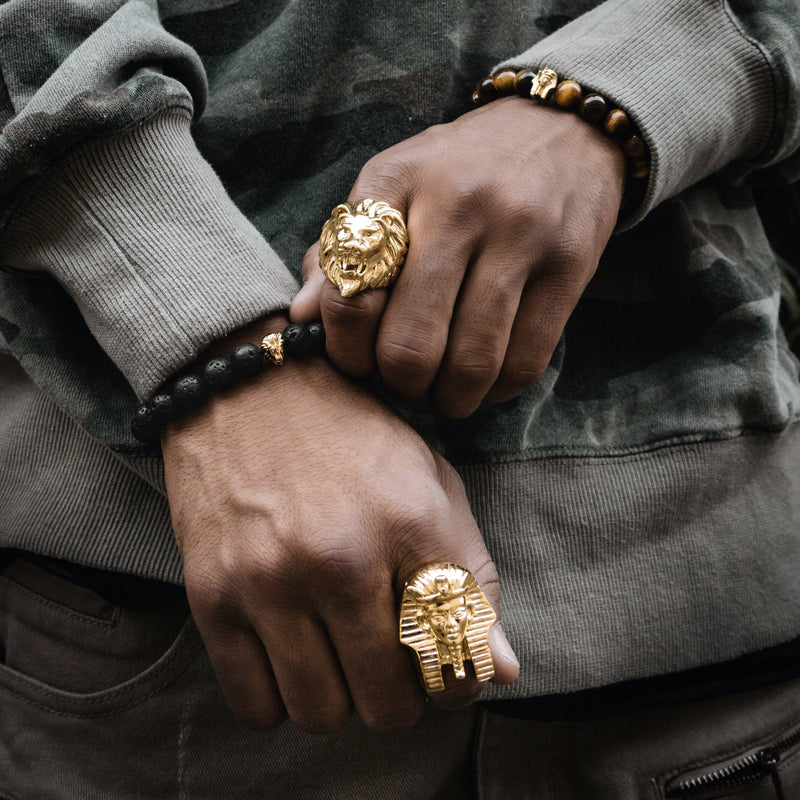 Lion Head Ring Gold Gods® lifestyle look