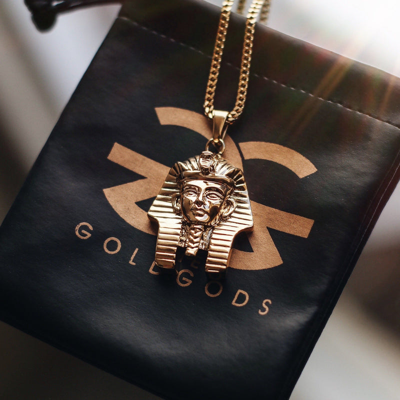 Pharaoh Head Gold Necklace Pendant & Franco Gold Chain Gold Gods® close up look